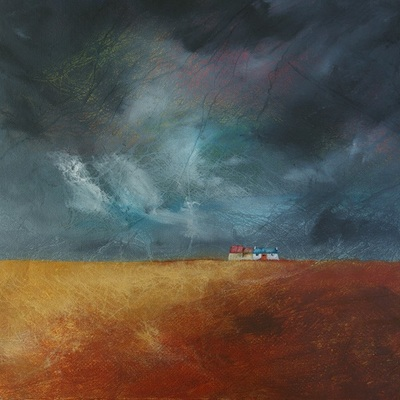 Painting of a Caithness croft with a dramatic sky