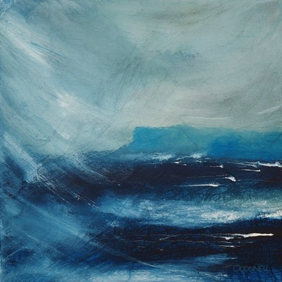 Painting of a Scottish coastal headland