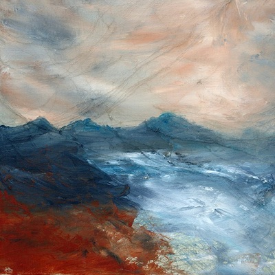 Painting in muted colours of a stormy Ardnamurchan
