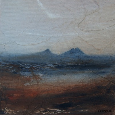 Painting of Caithness at dawn in muted colours