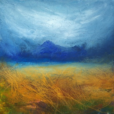 Contemporary Scottish art painting in blue and yellow