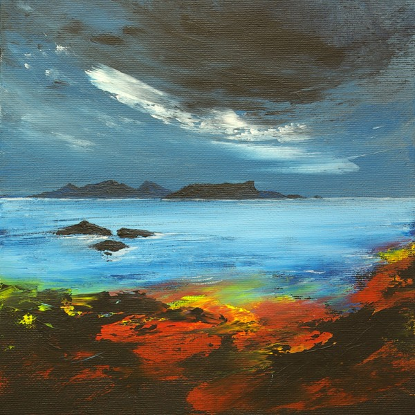 Eigg and Rhum seascape island painting