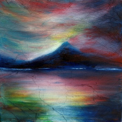colourful mountain painting