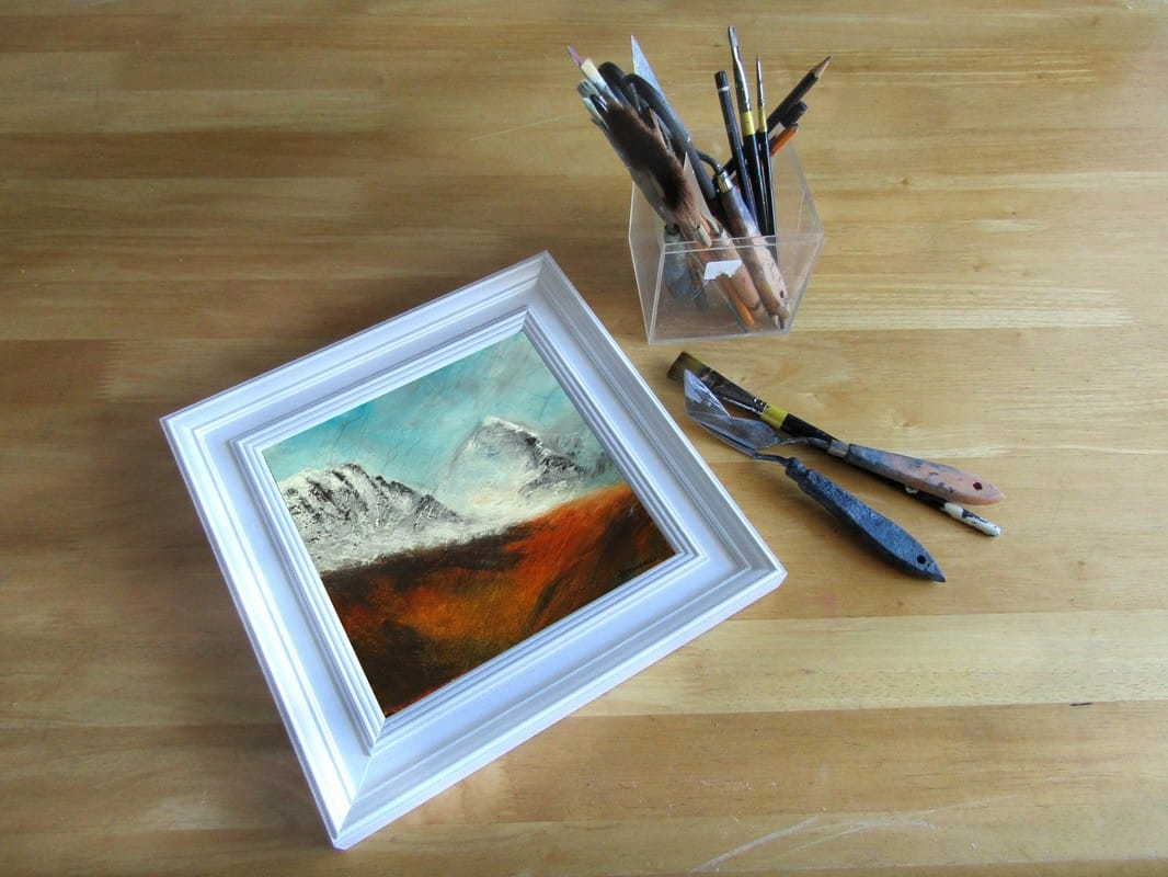 Applecross mountain pass in winter landscape painting