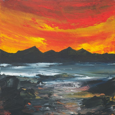 Scottish mountain sunset painting