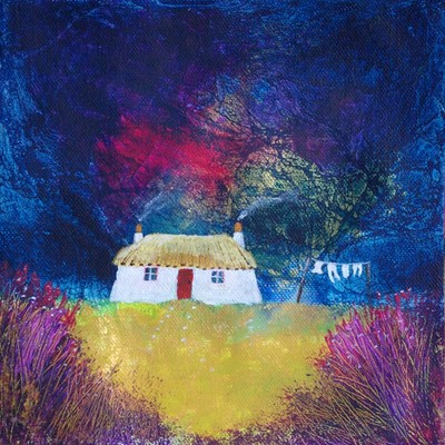 Scottish thatched blackhouse croft painting