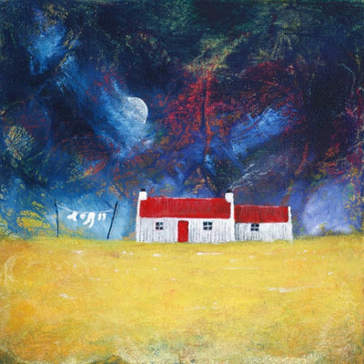 Red roofed Scottish house painting