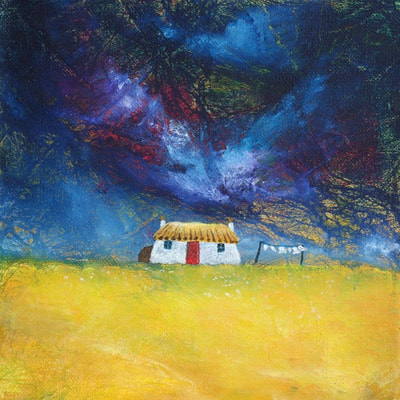 Contemporary Scottish croft house painting