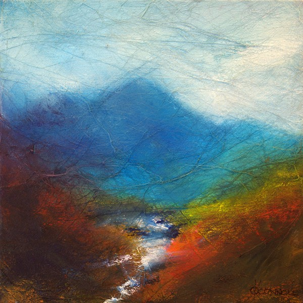 Scottish waterfall contemporary landscape painting