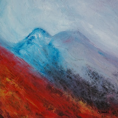 Scottish winter mountain painting of Achnashelllach hills