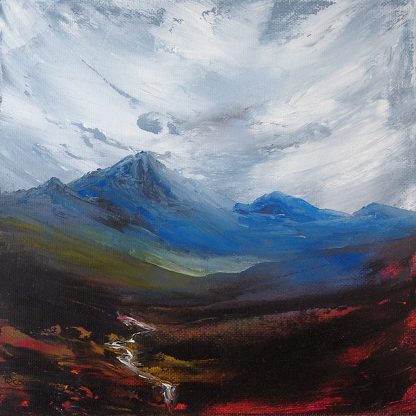 Scottish mountain landscape painting of Glen Rosa, Arran