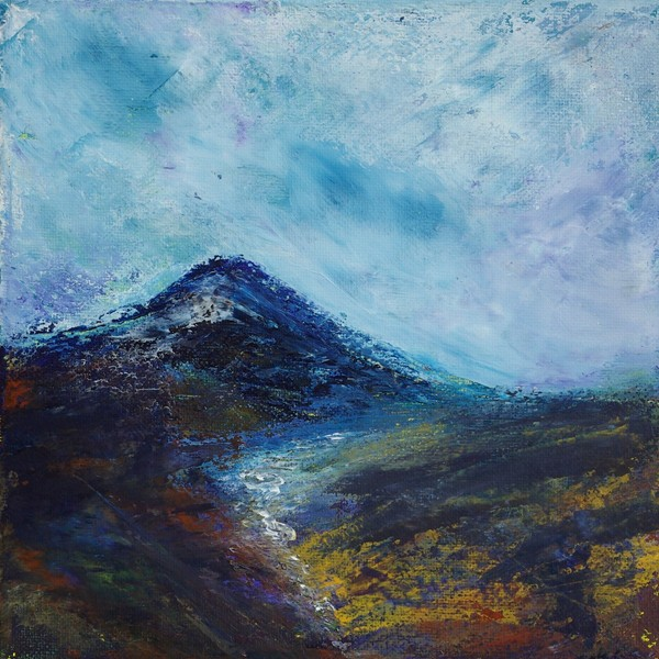 mountain burn landscape painting