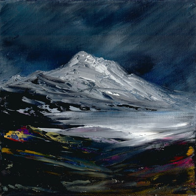Scottish winter mountain painting
