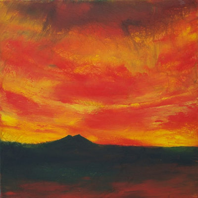 Caithness sunset painting of Morven