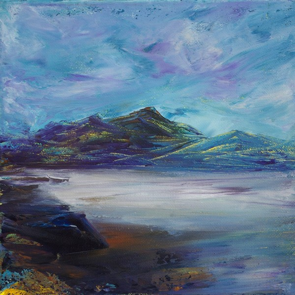 White sand Scottish coastal seascape painting